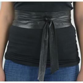 sort bindebælte i handskeskind - længde efter mål