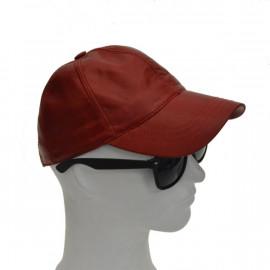 Rød skind cap - super pris...