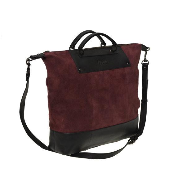 Stor Treats håndtaske - Bordeaux ruskind og sort skind