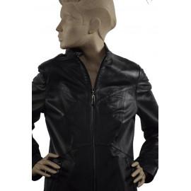 Sort klassisk jakke, før...
