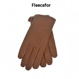 Cognac dame skindhandske med fleecefor - Randers handsker
