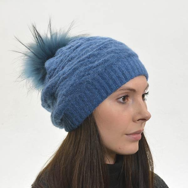 Petroleums blå strikhue - Blød og varm - 30161