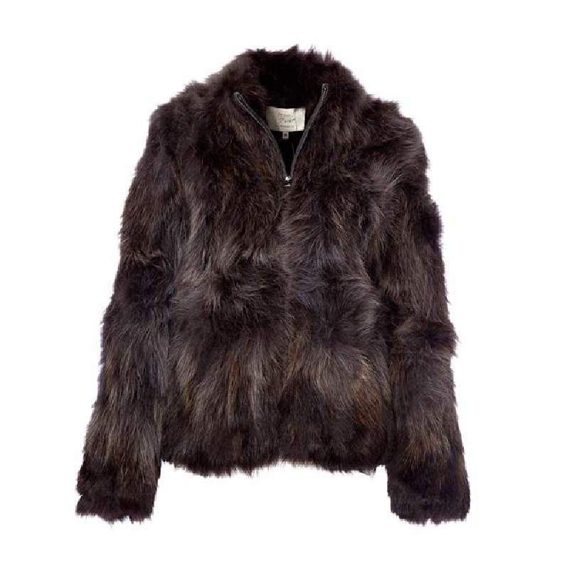 14141bbf Berømte pelsjakke i vaskebjørn kort model pelsjakke mørk grå køb nu WK13