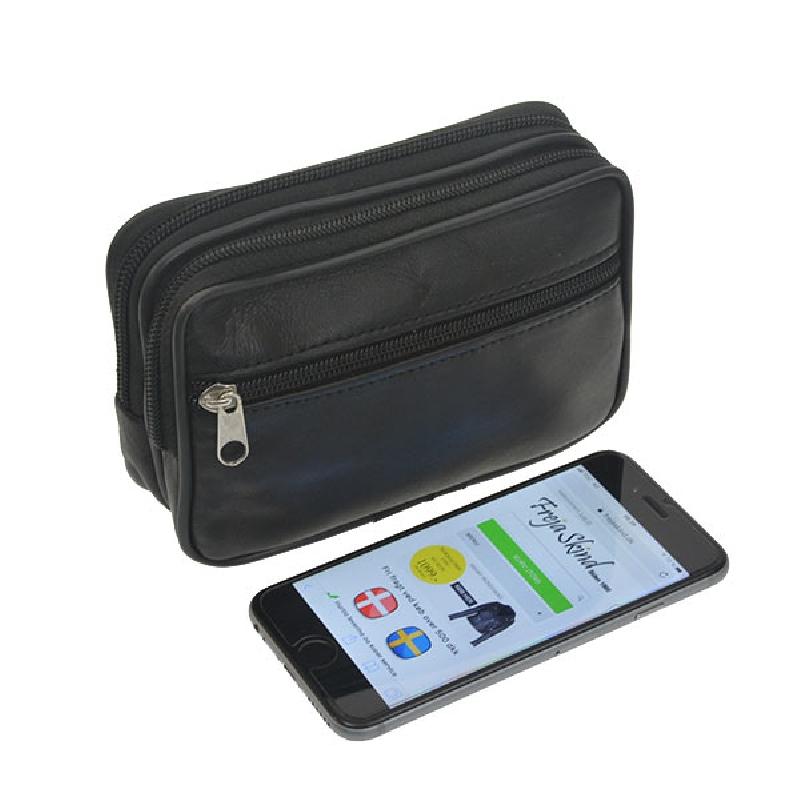 Bæltetaske til mobil mm. - Sort lammeskind