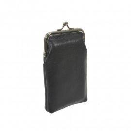 Cigaretetui i sort skind - bøjlelukning og udv. lomme
