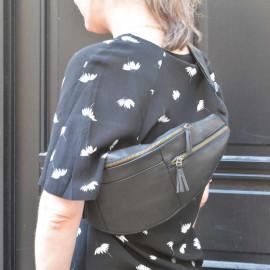 Stor-bæltetaske-Freja skind-Tilbud sort-lammeskind