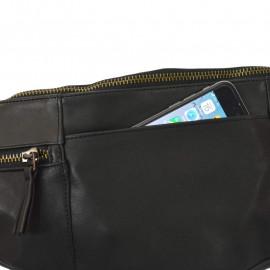 sort skind bæltetaske i lammeskind fin bæltetaske perfekt til rejsen, festival og lignende