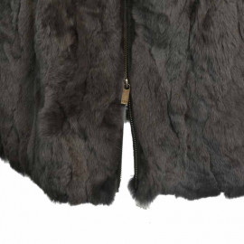 grå pelsjakke rex kanin 30701 gratis fragt