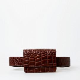 Petra bæltetaske fra Treats - brun skind - crocopræg