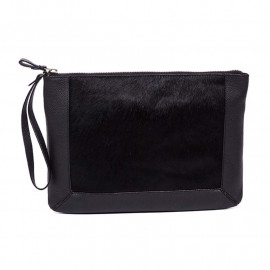 Treats clutch med pels - sort skind - 220460
