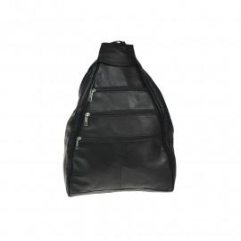 Stor sort rygsæk i lammeskind - Super pris