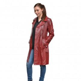Rød Trenchcoat - Blød lammeskind - Kylie