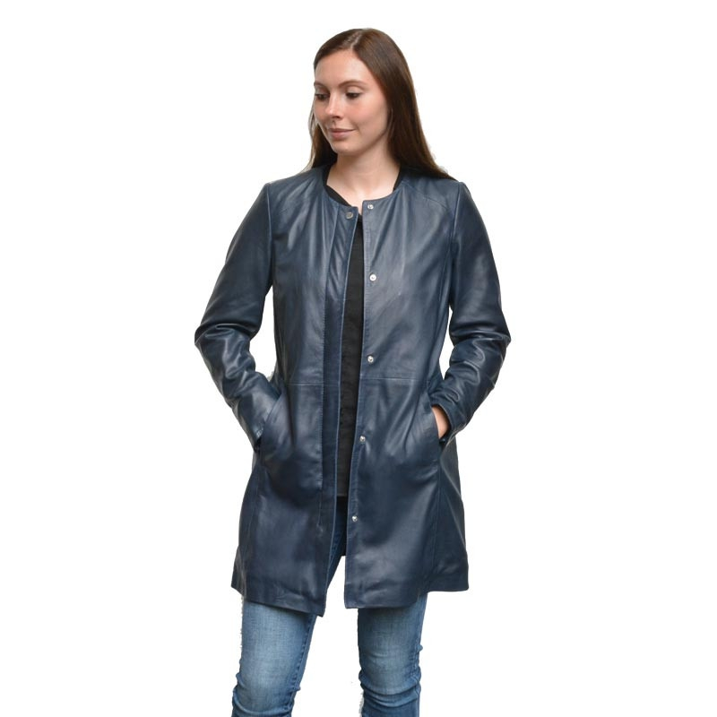 Mellemlang skindjakke - Blå overgangsjakke - Carina
