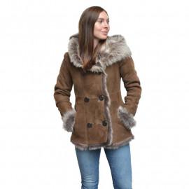 Dame rulamsjakke - Brun Toscana lam