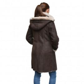 brun dame rulamsjakke mellemlang