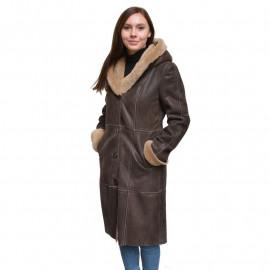 Brun dame rulamsfrakke lang model retro look - Få stk.