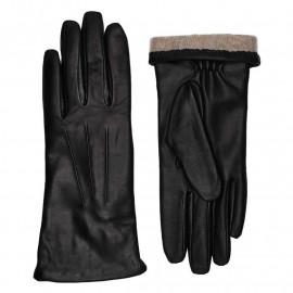Sorte damehandsker med strikfor - Randers handsker