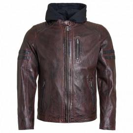 Mørk brun herre læderjakke - Gordon fra Saki - aft hætte