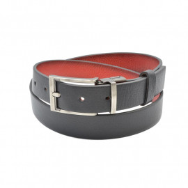Læderbælte  - Vendebælte sort og rød - 2 i 1