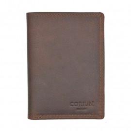 Brun Corium kortholder  - Bøffel - 6 kort, sedler og mønt