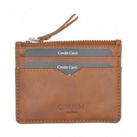 Cognac kortholder i kalveskind - 4 kort og møntrum - Corium