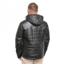 Sort vinterjakke - Artic - Læderjakke med aft hætte