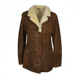 Brun rulamsjakke dame - Dejlig varm - Let,  blød og lækker
