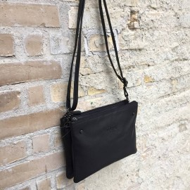 Corium crossbody taske i sort kalveskind - 170008