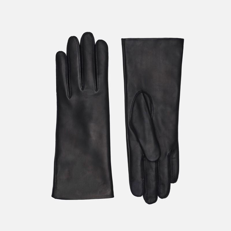 Dame Randers handsker - Sort med strikfoer 208700
