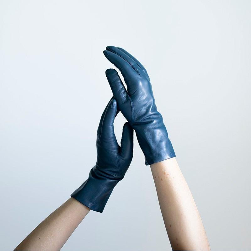 Randers handsker dame - blå - Strikfoer