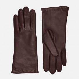 Mørk brun dame skindhandske - uldfoer - 208700 - Randers