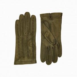 Dame skindhandske uden foer - Army grøn - Randers handsker