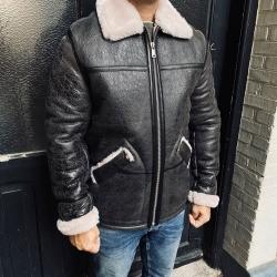 Detroit herre rulamsjakke - rå og rustik - Mørk antracite  - Freja skind
