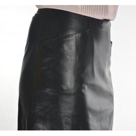 Sort nederdel i blød handskeskind